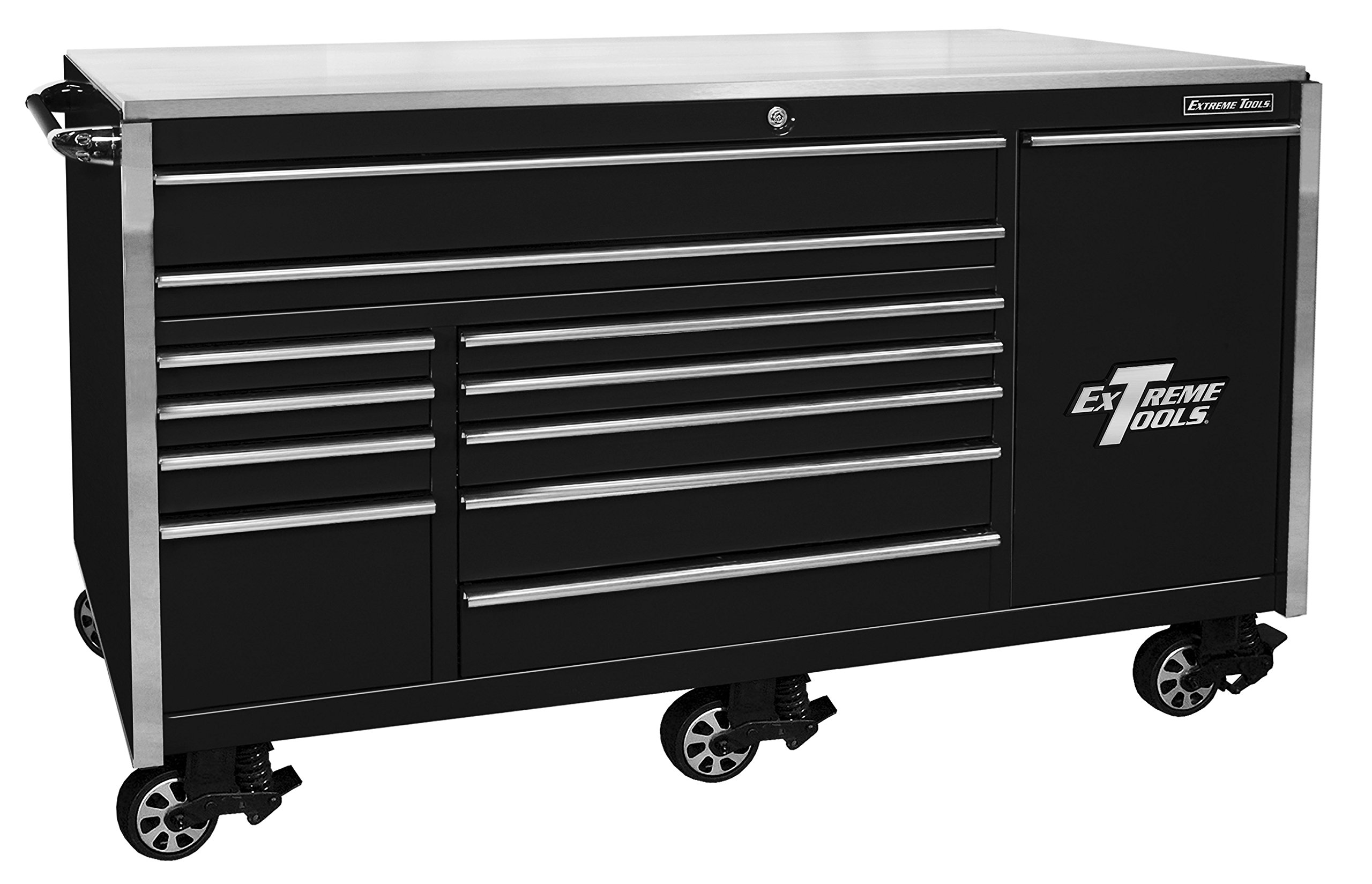 Extreme Tools EX7612RCBK 12-Drawer Roller Cabinet Vertical Drawer Power Strip with Ball Bearing Slides, 76-Inch, Black High Gloss Powder Coat