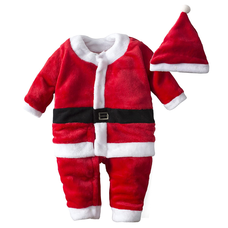 Big Elephant Baby Boys'1 Piece Velvet Christmas Long Sleeve Jacket with Hat M05C