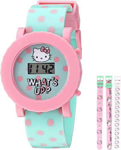 Hello Kitty Girl's Digital Quartz Watch with Plastic Strap