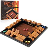 Shut The Box, Shut The Box Game Wooden 4 Players 12 Inches Wooden Board Games with 4 Pairs of Dices for Kids Adults Family Cl