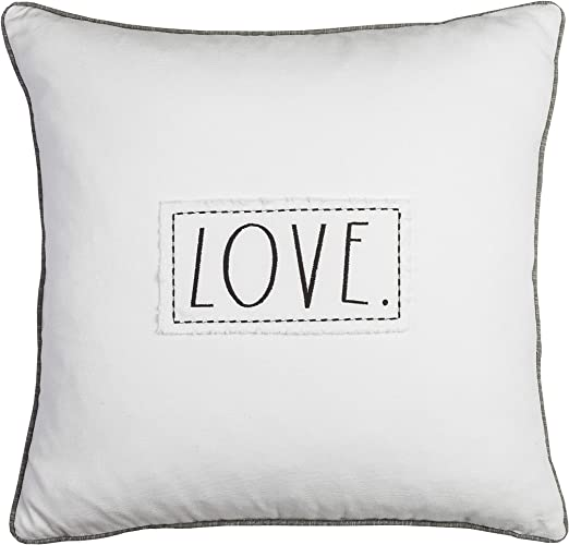 New Rae Dunn LOVE Decorative Feather-Fill Throw Pillow Black Letters Gray Piping