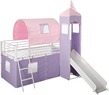 Amazon.com: Powell Princess Castle Twin Tent Bunk Bed with Slide
