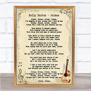 Jolene Song Lyric Vintage Quote Print