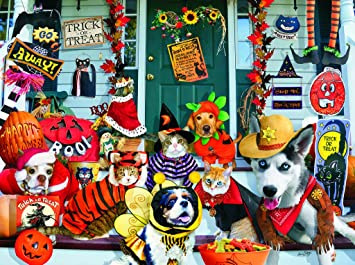 halloween costume contest 1000 pc jigsaw puzzle halloween pets theme by sunsout - Pet Halloween Photo Contest