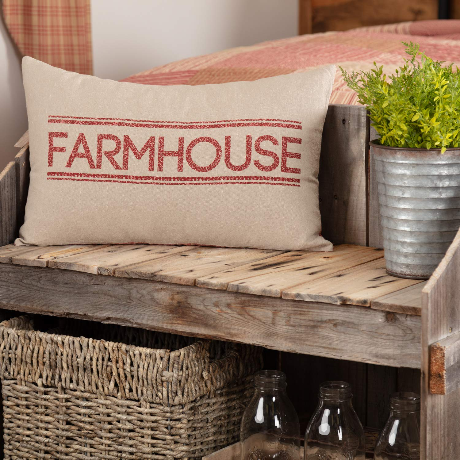 VHC Brands Farmhouse Bedding Miller Farm Charcoal Cotton Stenciled Chambray Text Rectangle Cover Insert Pillow Red Country