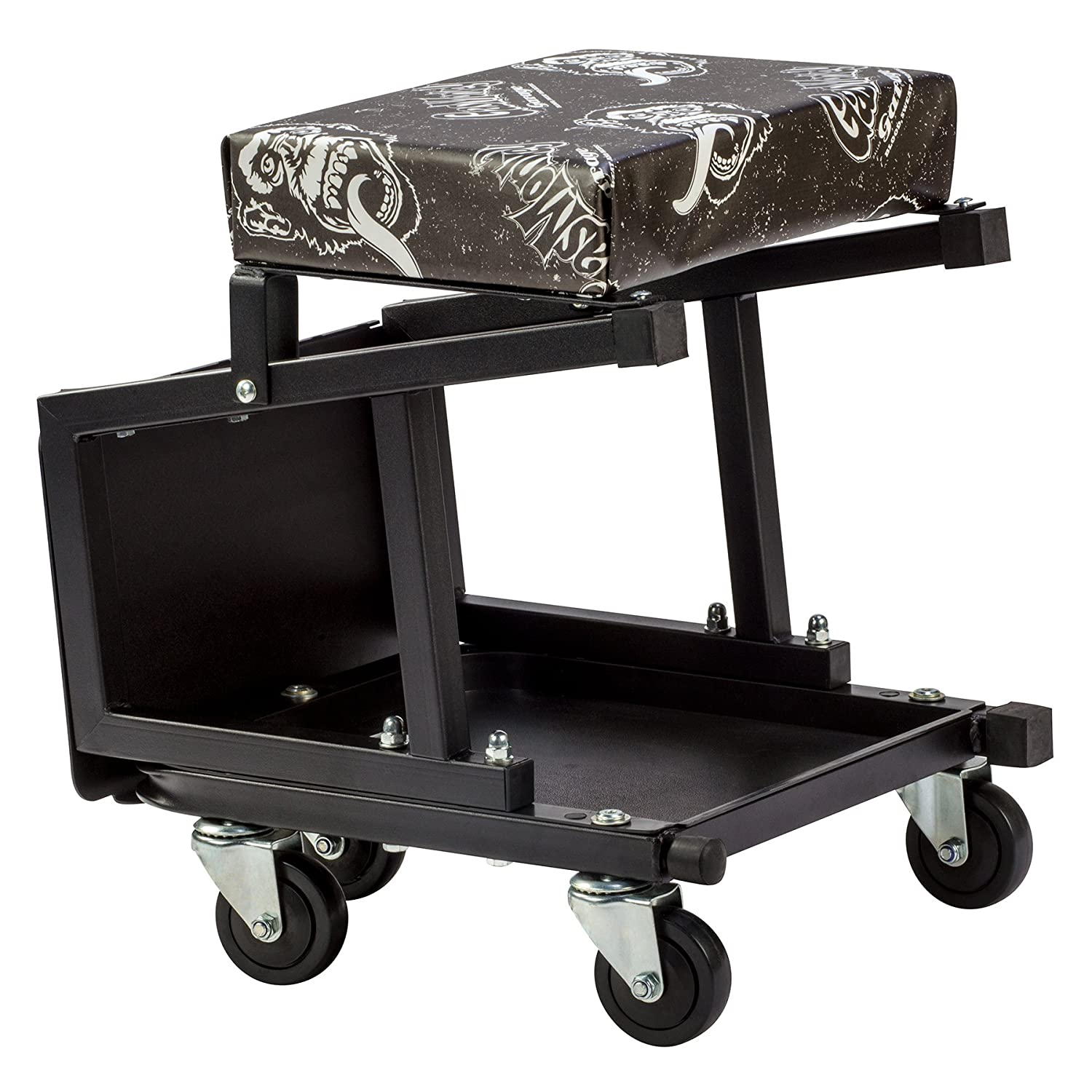 Gas Monkey Mechanic Creeper Seat and Stool Combo - 5 Rolling Casters with 350 Lbs Capacity for Auto Car Garage GMG91305