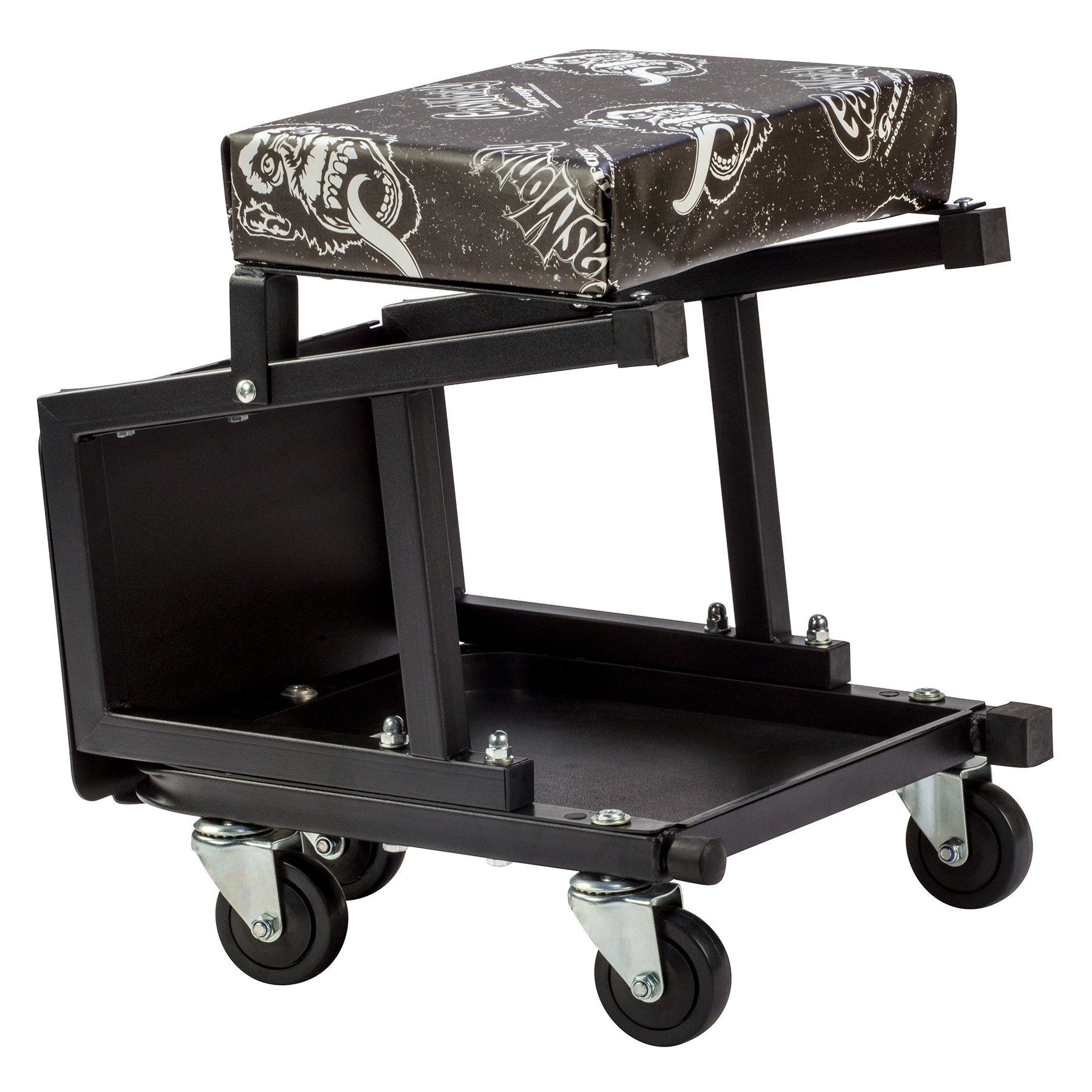Gas Monkey Mechanic Creeper Seat and Stool Combo - 5 Rolling Casters with 350 Lbs Capacity for Auto Car Garage