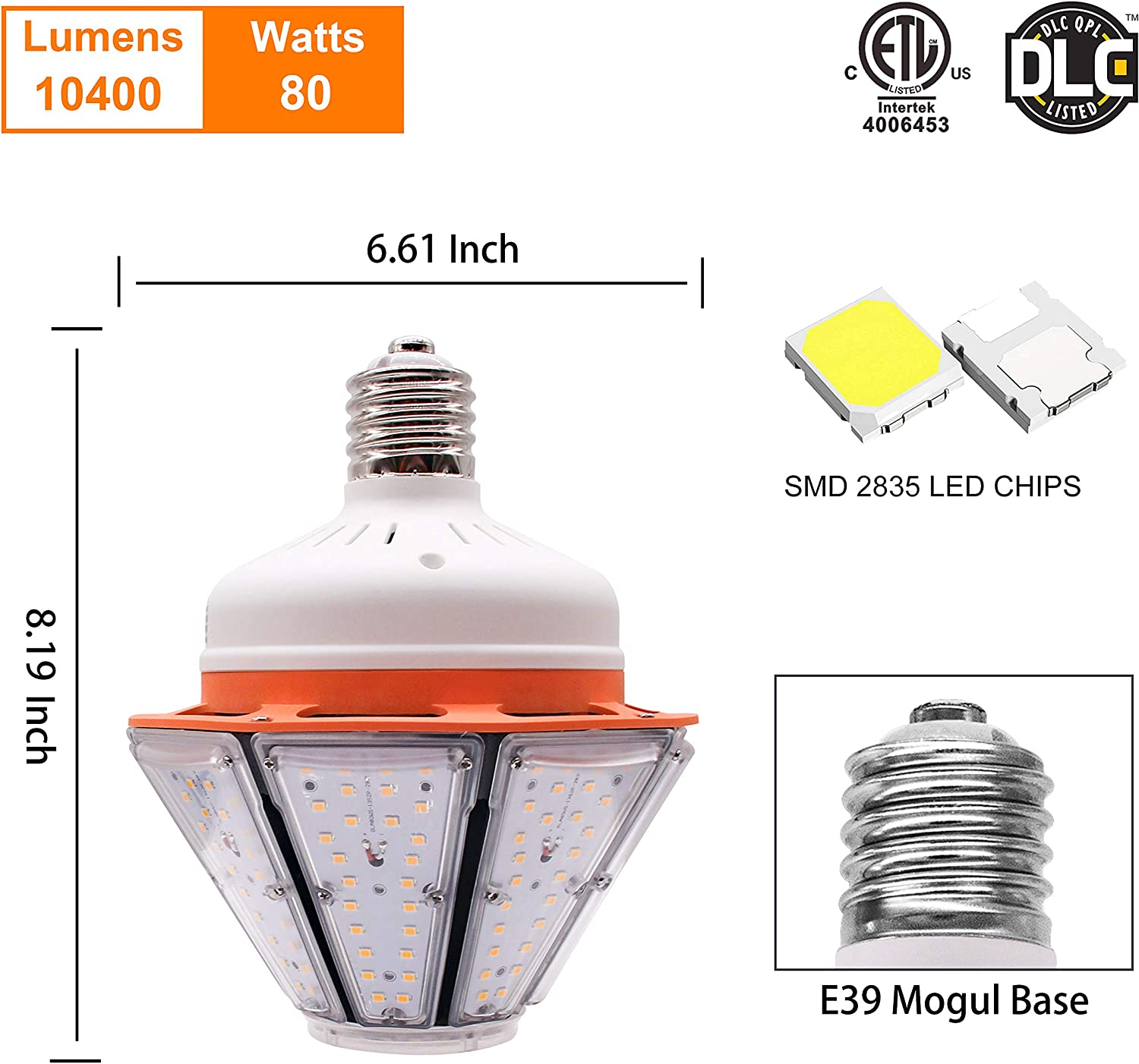 E39 Mogul Base 3,000K Warm White Open Semi-Closed Enclosed Fixtures Household Industrial and Commercial Light Warehouse Lamp Backyard Lighting 100 Watt LED Corn Bulb