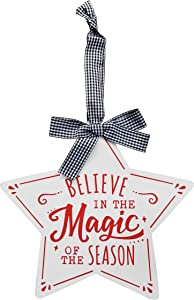 "10 o'clock Believe in The Magic of The Season, inch by 10.46""x10"" Hanging, Wall Art, Decorative Wood Christmas Sign Home Decor"