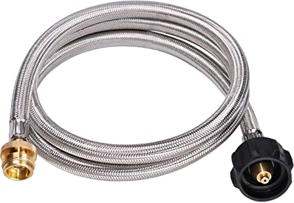 Kohree 12 Feet Stainless Steel Braided Propane Adapter Hose 1 lb to 20 lb Converter Replacement for QCC1//Type1 Tank Connects 1 LB Bulk Portable Appliance to 20 lb Propane Tank for Propane Burner Safety Certified