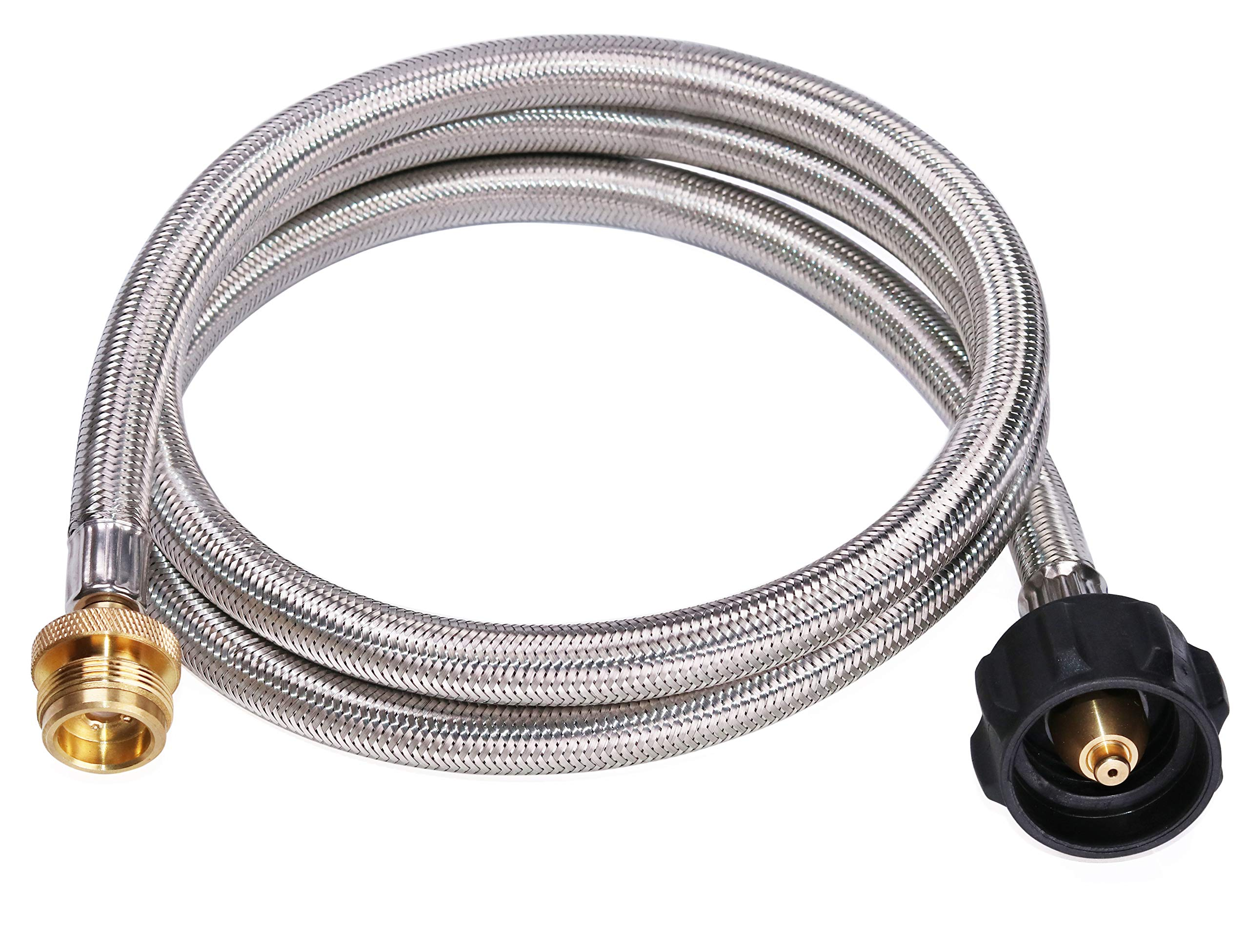 DozyAnt 5 Feet Stainless Steel Braided Propane Adapter Hose 1 lb to 20 lb Converter Replacement for QCC1 / Type1 Tank Connects 1 LB Bulk Portable Appliance to 20 lb Propane Tank - Safety Certified by DOZYANT