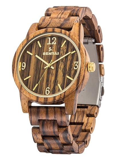 Relojes de madera Sentai Reloj de cuarzo artesanal para mujer y hombre Reloj de pulsera de