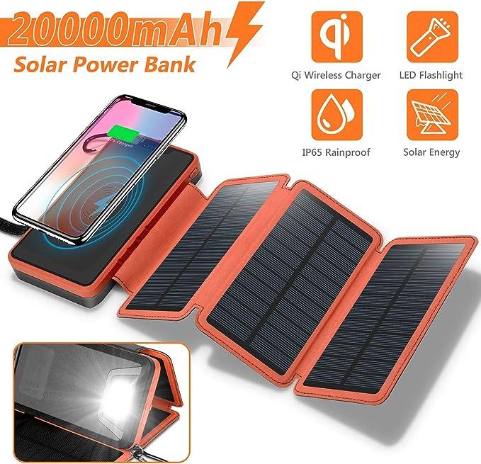 7 opinioni per Sendowtek Caricabatterie Solare 20000mAh Power Bank 3 Pannelli Solari Pieghevole