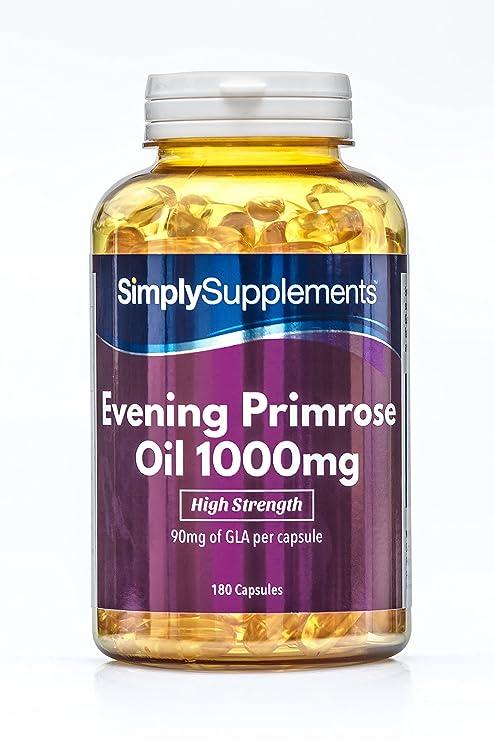 Aceite de Onagra 1000mg - 180 cápsulas - Hasta 6 meses de suministro - Para la
