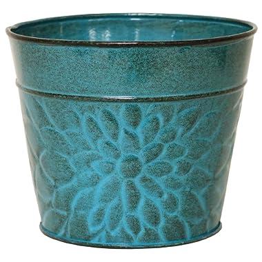 Robert Allen MPT02005 Laurel Series Metal Planter Flower Pots, 6 , Lagoon