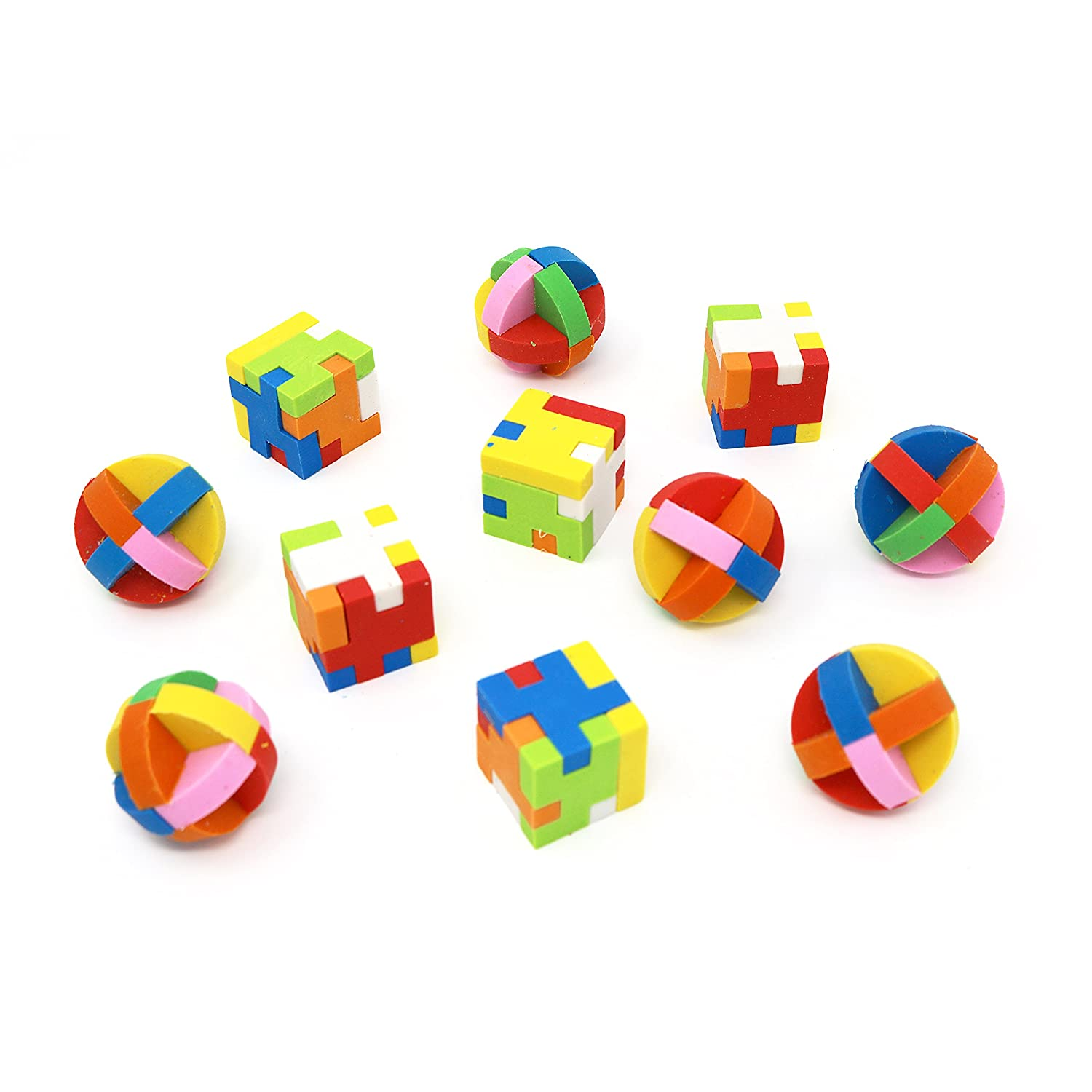 6 Balls and 6 Cubes Big Mo/'s Toys Individually Wrapped Goody Bag Party Favor and Stocking Stuffers Pencil Eraser Big Mos Toys Puzzle Erasers