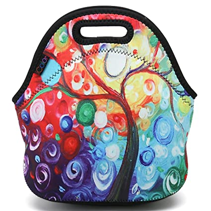 96a5c81a6ddc ICOLOR Colorful Tree Insulated Neoprene Lunch Bag Tote Handbag lunchbox  Food Container Gourmet Tote Cooler warm Pouch For School work Office