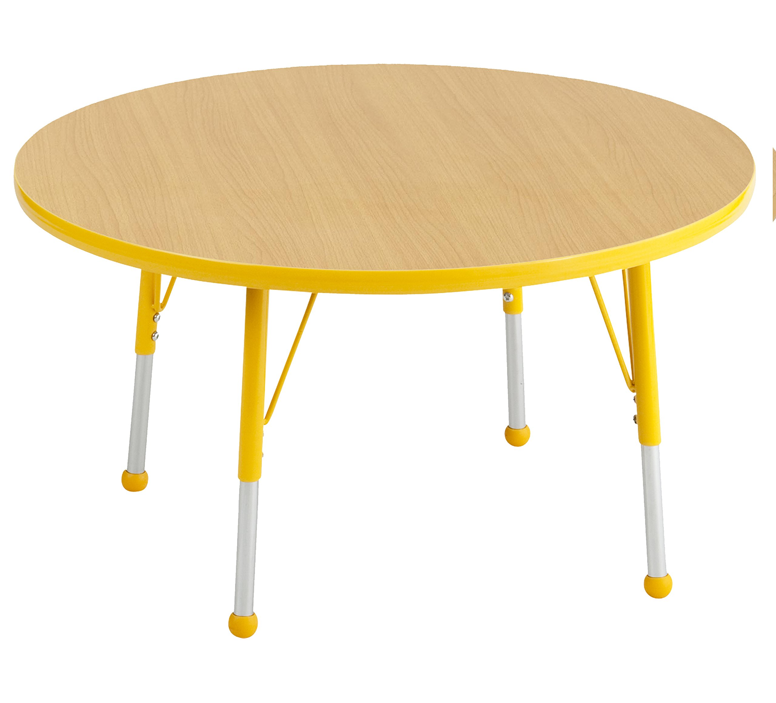 ECR4Kids Thermo-fused 36'' Round School Activity Table, Standard Legs w/ Ball Glides, Adjustable Height 19-30 inch (Maple/Yellow)