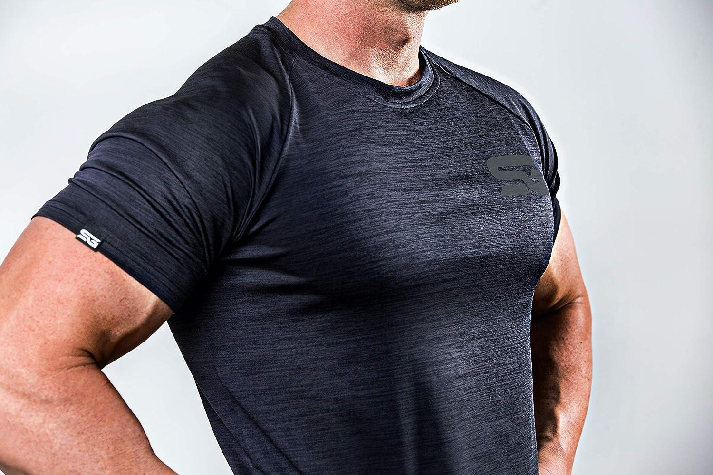 Satire Gym Camiseta de Fitness para Hombre Slim fit Ropa Deportiva Funcional Adecuada para Workout Entrenamiento