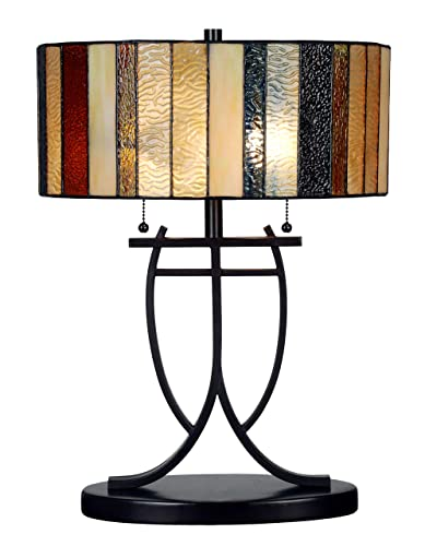Tiffany Style Banker Accent Table Lamp Stained Glass Blue White Brown Modern Lighting Rustic Desk Bedroom End Table Living Room Bedside Reading Night Light Office 19 x 14 inch Iron Tall Large Cylinder