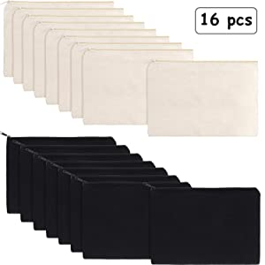 16 Pack Multi-Purpose Cosmetics Bag with Zipper Cotton Canvas Makeup Pouches Travel Toiletry Bag Pen Pencil Bag Blank DIY Craft Bag (M, Beige and Black)
