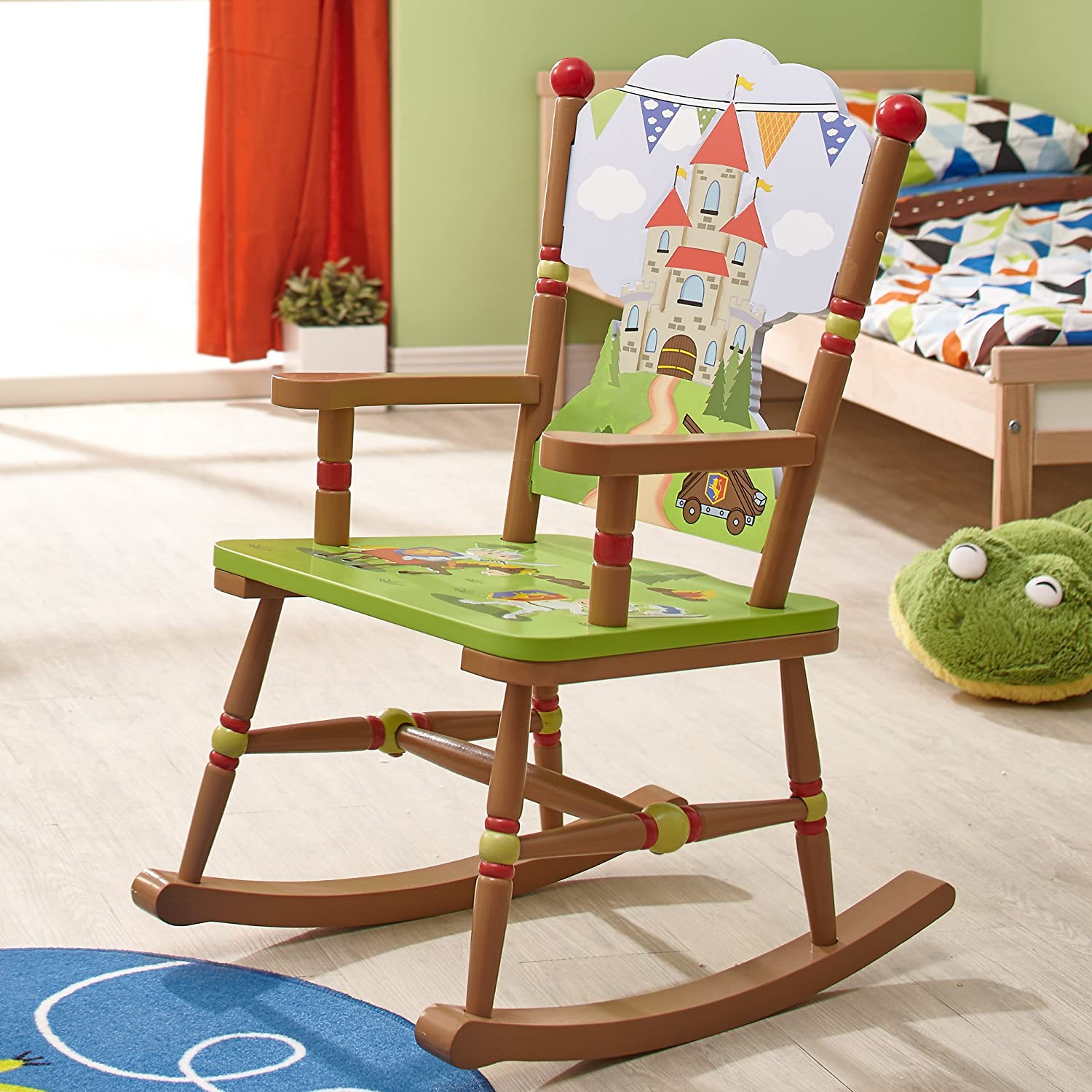 Fantasy Fields - Knights & Dragon Thematic Kids Wooden Rocking Chair | Imagination Inspiring Hand Crafted & Hand Painted Details | Non-Toxic, Lead ...