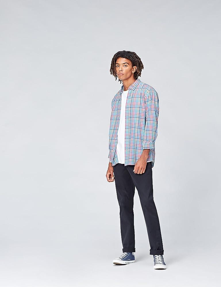 Marca Amazon - find.. Camisa de Cuadros para Hombre, Multicolor (Multicheck), M, Label: M: Amazon.es: Ropa y accesorios