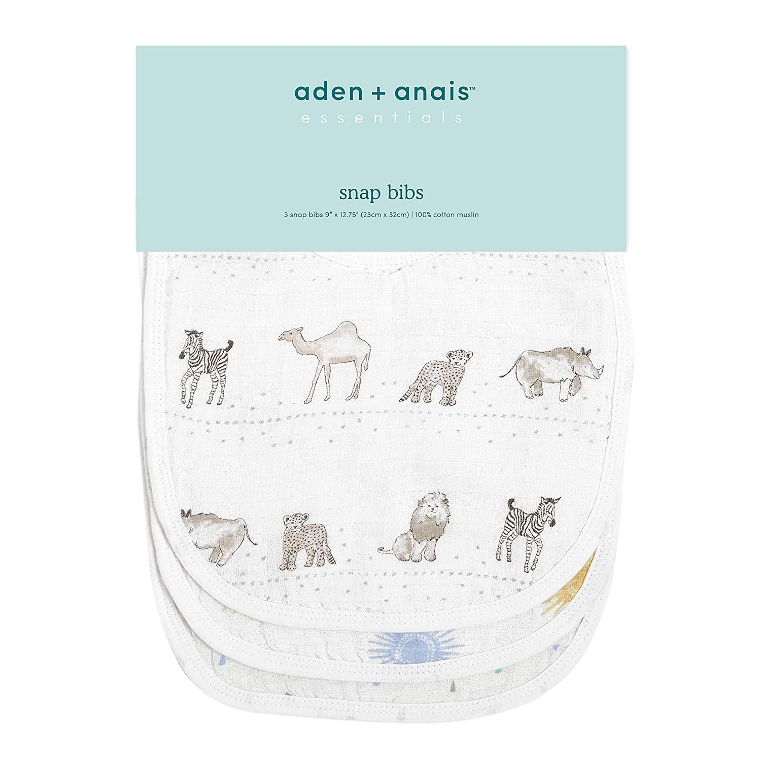 anais Essentials Snap Baby Bib Sunshine aden 3 Pack 100/% Cotton Muslin Newborns and Toddlers Super Soft /& Absorbent for Infants 3 Layer Burp Cloth Adjustable with Snaps