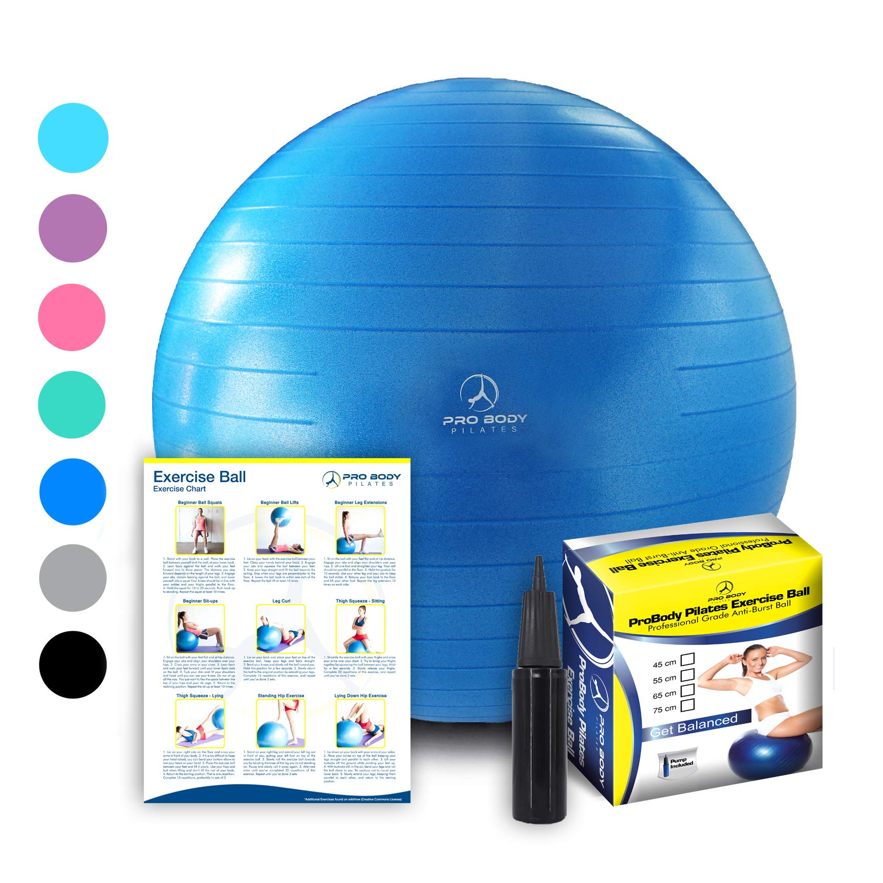 ProBody Pilates Exercise Ball, 65cm Dia - Blue