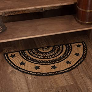 Classic Country Primitive Flooring - Farmhouse Jute Black Stenciled Stars Half Circle Rug