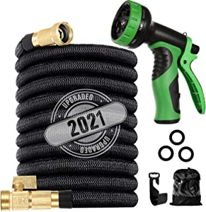 Garden Hose 200ft Expandable Water Hoses - 2021 Upgraded Flexible Retractable Hose with Extra-Strong Brass Connector,Superior Strength-4-Layers Latex - Expanding Pipe for Yard Watering Washing