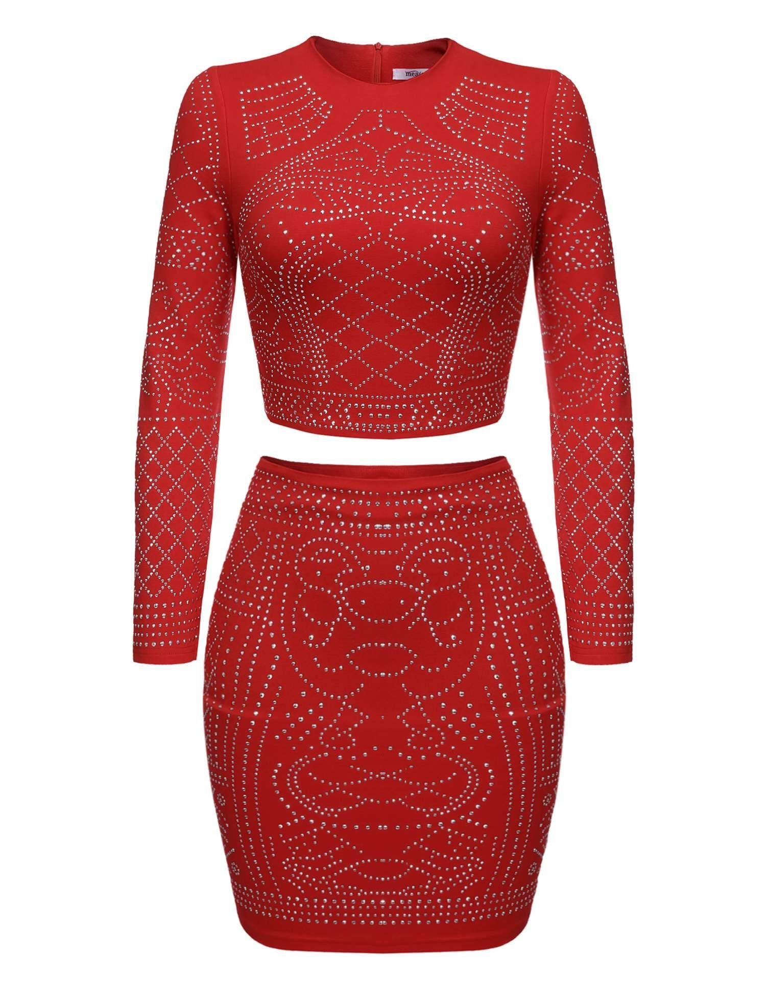 ELESOL Women Two Pieces Outfit Long Sleeve Beaded Tank and Mini Skirt Set (Red XL)