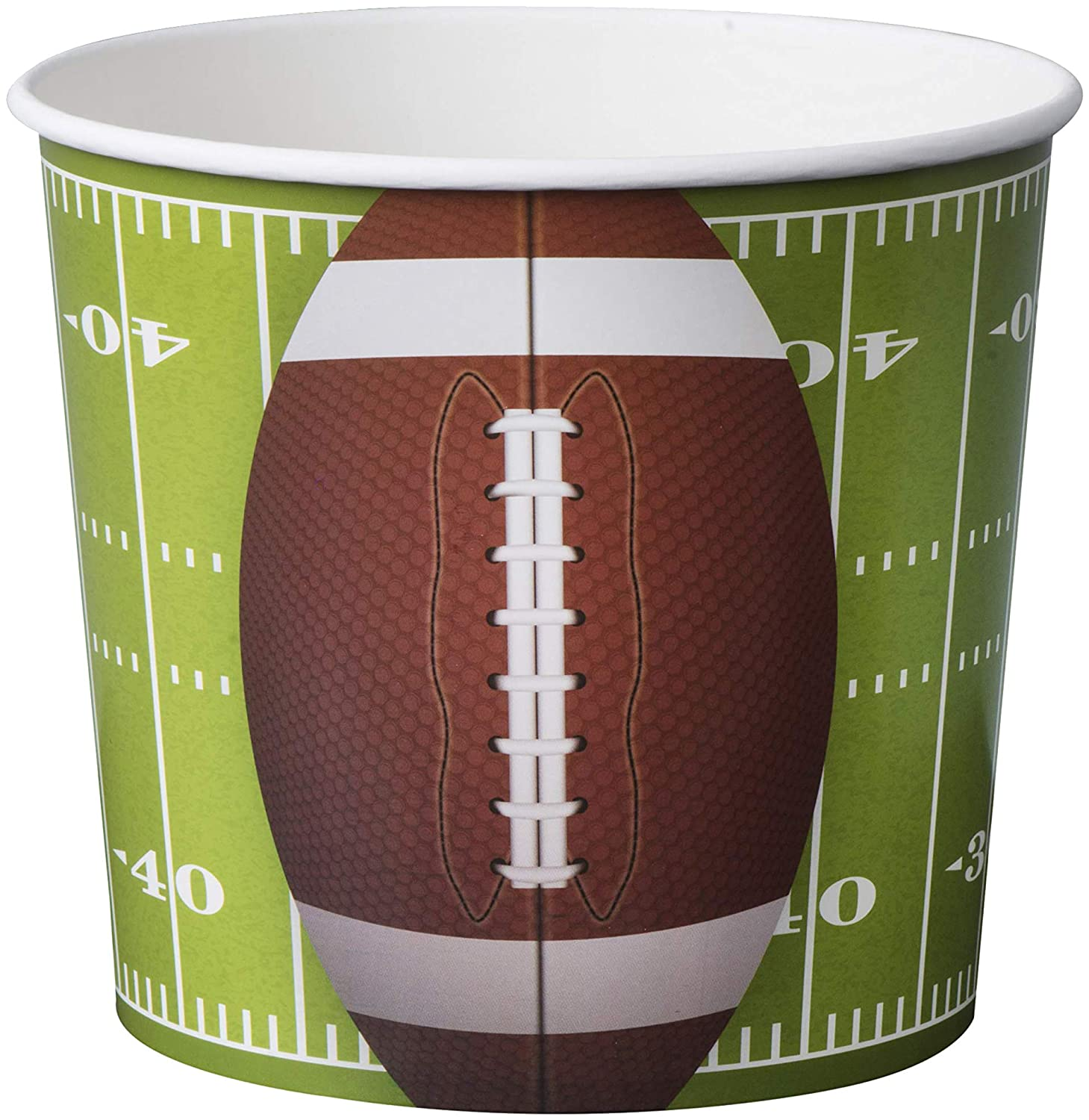 Hammont Football Party Supplies 84 Oz Snack Cups -Superbowl Disposable Paper Bucket Ideal for Tailgate Parties,Family Dinner and Sports Event (8 Pack )