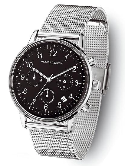 Adora Diseño reloj de hombre con metal banda 40 mm Calendario GMT ad8936