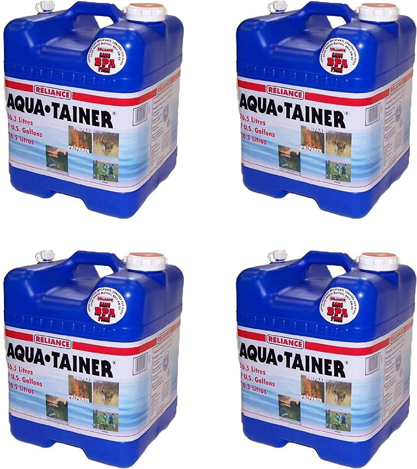 Reliance Products Aqua-Tainer 7 Gallon Rigid Water Container (Pack of 4)