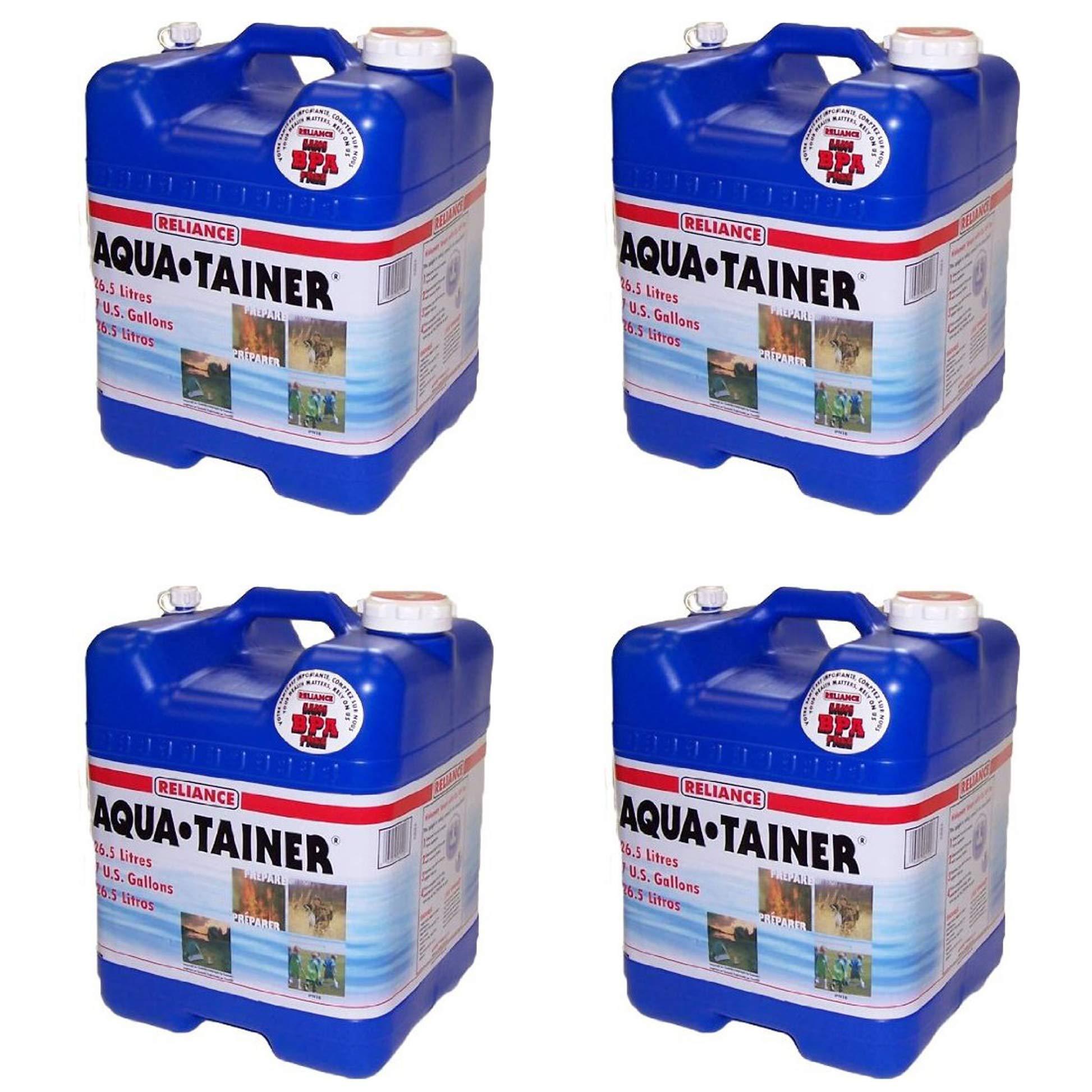 Reliance Products Aqua-Tainer 7 Gallon Rigid Water Container (Pack of 4) by Reliance Products