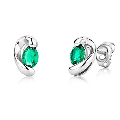 Miore Ladies 9ct White Gold Pear shape Emerald Earrings MG9231E TOUTOd