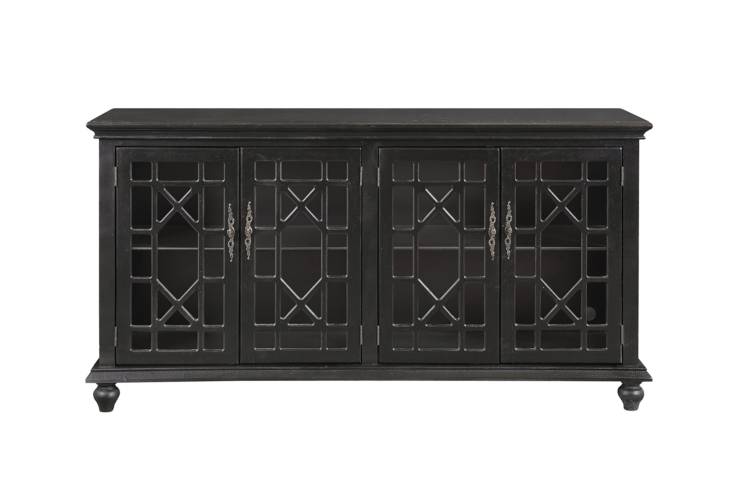 Edwardsville Textured Black Four Door Media Credenza