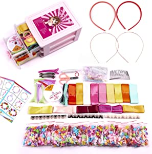 Aumuko Pop Beads,Bowknot,DIY Jewelry Making Kit for Girls,Kids Pop Snap Beads Set and Silk Ribbon to Make Hairband, Necklaces,Bracelets,Art & Crafts Creativity Toys for Kids 3-12 Year Old(450 PCS