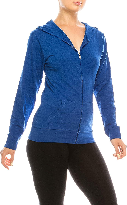 Slim Fit Thin Lightweight Jacket Long Sleeve Sweater Active Yoga Running Hooded Sweatshirt EEVEE Women/'s Full Zip Hoodie