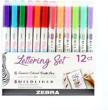 New Zebra Lettering Set ~ 6 Funwari Brush Pens 6 Mildliner Markers!
