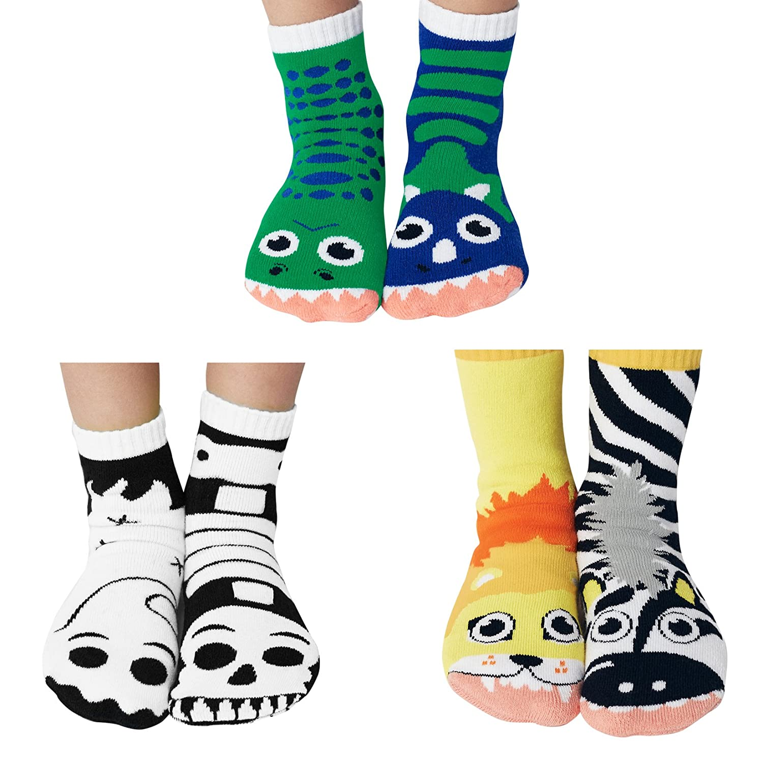 Werewolf & Zombie, Snake and Mouse, Robots Mismatched Kids Socks Pack, Kids Ages 4-8 PS-16a