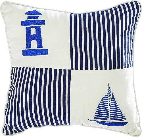 Benzara Fabric Pillow, Square Shape, Aqua Blue and Pearl Finish