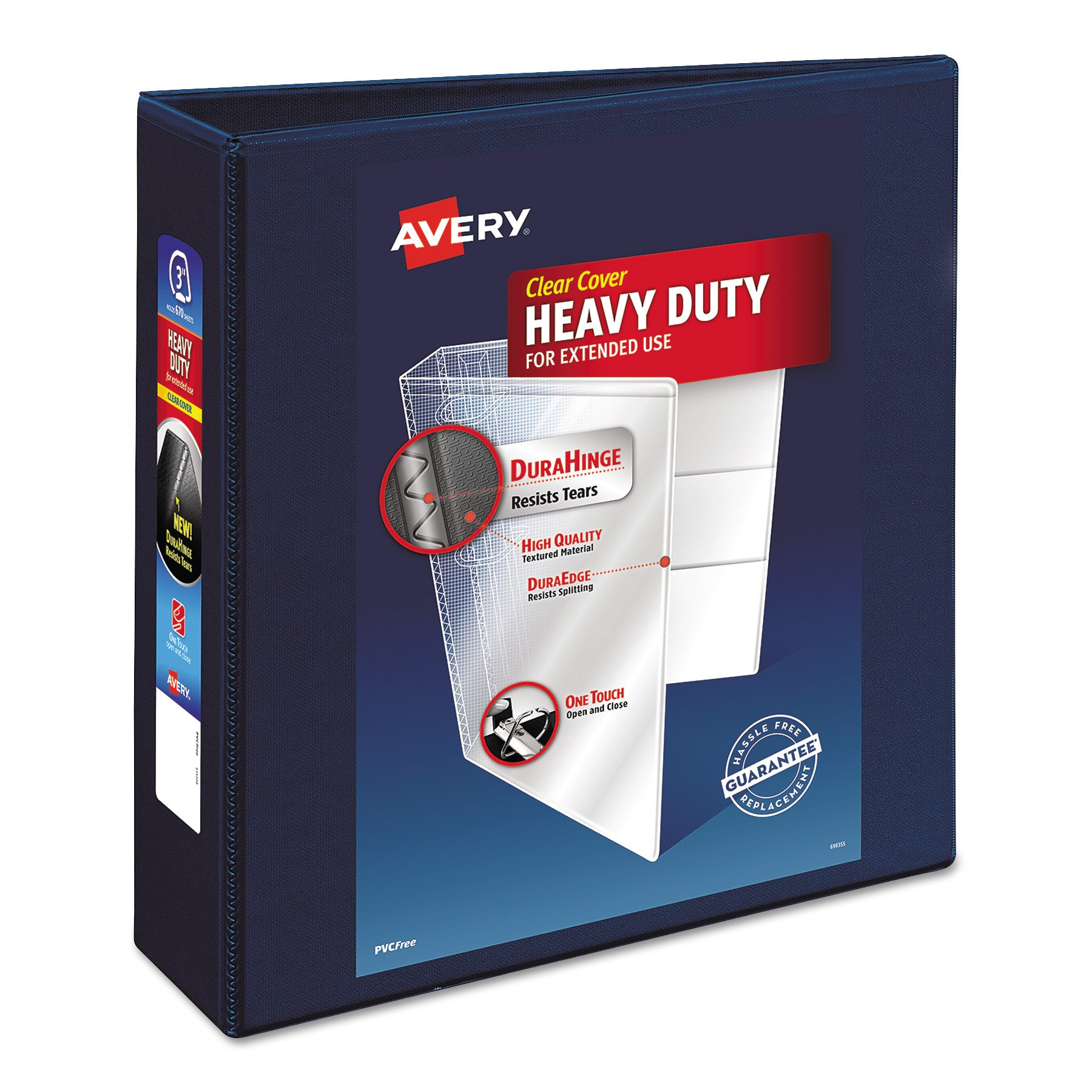 Avery Nonstick Heavy-Duty EZD Reference View 3'' Navy Blue Binder (79803)