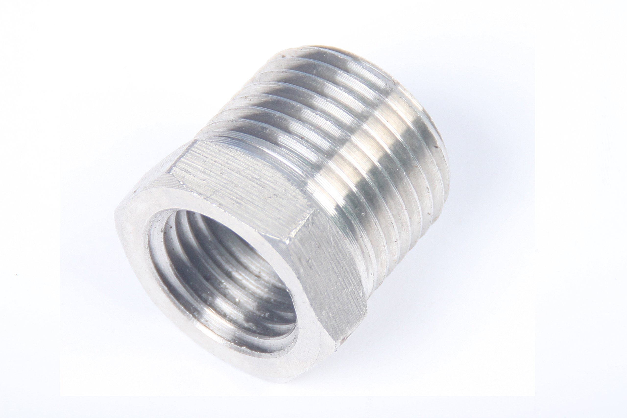 LTWFITTING Bar Production Stainless Steel 316 Pipe Hex Bushing Reducer Fittings 3/8'' Male x 1/4'' Female NPT Fuel Water Boat (Pack of 5)