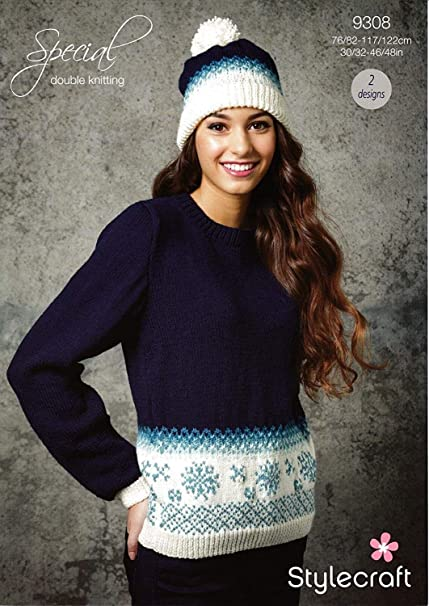 Stylecraft 9308 Knitting Pattern Womens Snowflake Christmas Jumper