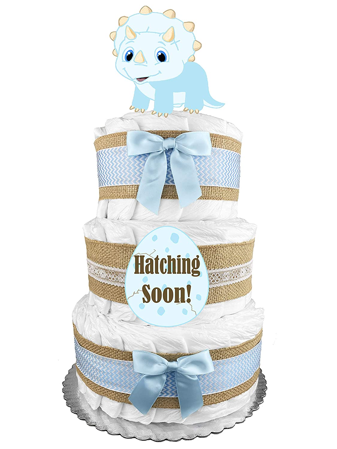Amazon Com Dinosaur Diaper Cake Boy Baby Shower Gift Idea Blue And Burlap Baby