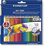 Staedtler crayon de couleur aquarellable Noris Club, norme CE EN71, bois certifié PEFC, formule ABS anti-casse, 24 couleurs assorties plus pinceau en étui carton, 144 10NC24