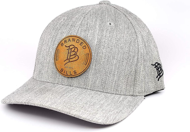 Branded Bills /'The BB/' Leather Patch Hat Flex Fit LG//XL//Heather Grey