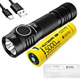 NITECORE E4K 4400 Lumen EDC Flashlight with 5000mAh USB-C Rechargeable Battery and LumenTac Battery Case